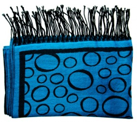 A blue scarf with a black fringe.