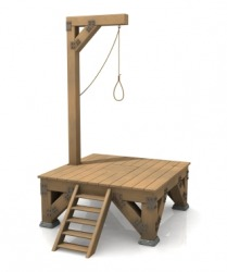 A wooden gallows.