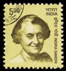 Postage stamp portrait of Mrs. Indira Gandhi.