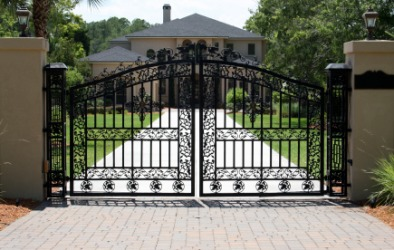 A wrought iron gate.