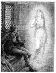 An engraving of a man being haunted by a ghost.