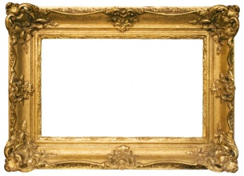 A gilded picture frame.