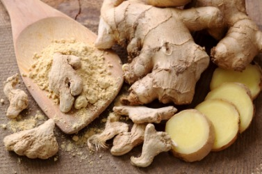 Fresh, dried and powdered ginger.