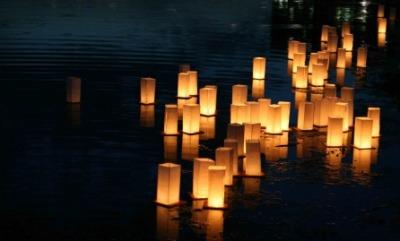 Glimmering paper lanterns.