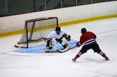 A hockey player guards the goal.