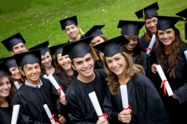 A group of students at their graduation.