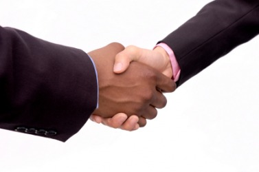 Two hands grasp in a handshake.