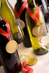 Award winning wines with their medals.