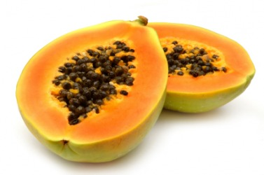 A papaya cut in half.