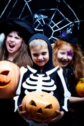 Children celebrating Halloween.