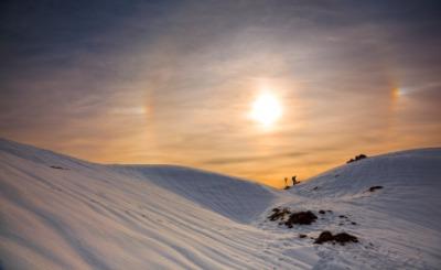 A halo surrounding the sun.