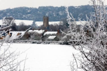 A snow covered English hamlet.