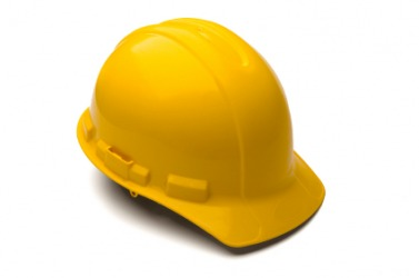 A hard hat as worn by construction workers.