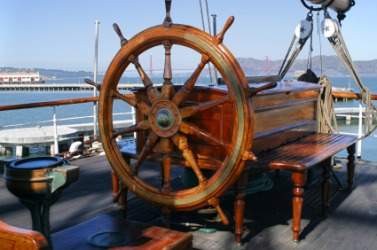 The helm of an old sailing ship.