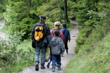 A family hike in the woods.