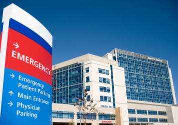 The emergency entrance to a hospital.