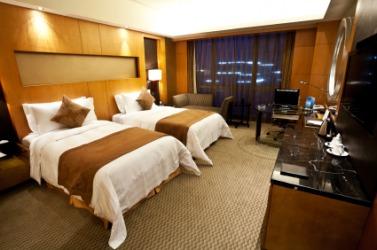 A room in a modern hotel.