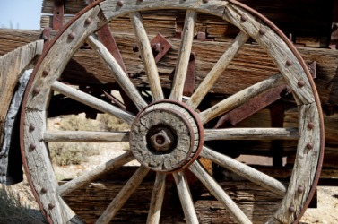 The hub of an old wagon wheel.
