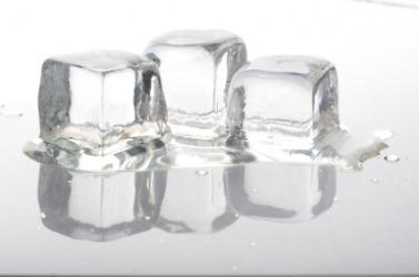 Three cubes of melting ice.