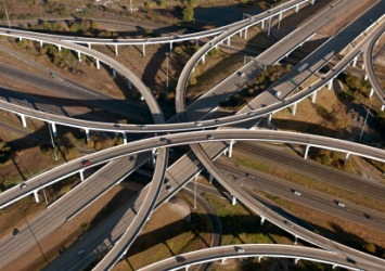 Freeways that intersect each other.