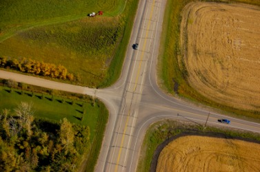 Aerial view of a rural intersection.