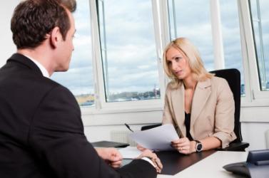 A business interview.