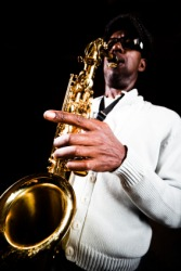 A musician plays music born in the Jazz Age.