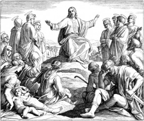 A depiction of Jesus delivering the Sermon on the Mount.