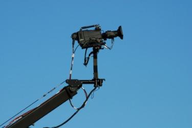 A camera on a jib.