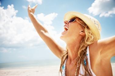 A joyful woman.
