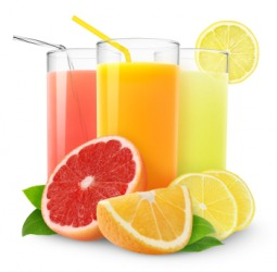 Glasses of three different types of juice.