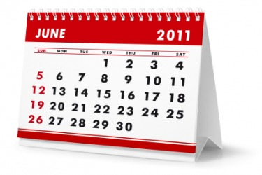 A calendar showing the month of June.
