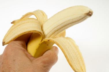 A half peeled banana.