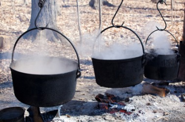 Syrup boiling in kettles over a fire.