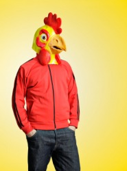 This mans disguise is a chicken mask.