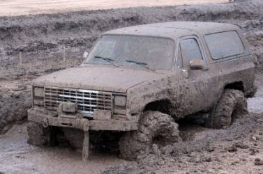 This truck could get stuck in the mire.