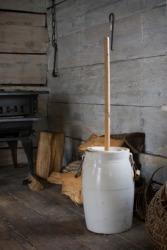An antique churn for making butter.