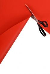 A pair of scissors cuts a piece of paper.