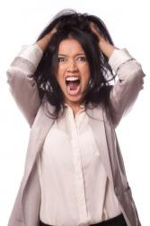 A woman shrieking.