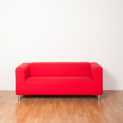 A bright red couch.