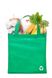 A reusable grocery sack.