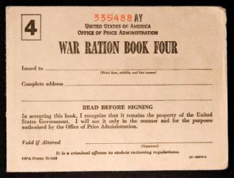 American World War II ration book.