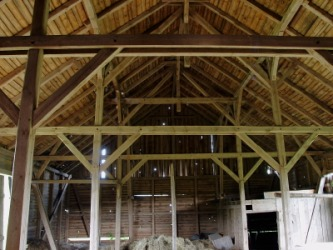 Wooden braces support the roof of this barn.