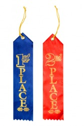 Ribbons awarded to first and second place.