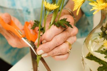 A woman trims flowers to make an arrangement.