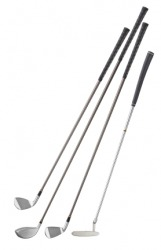 Golf clubs with metal shafts.