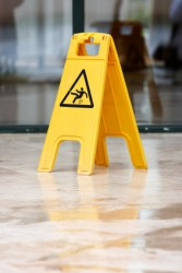 This sign cautions you that the floor is wet.