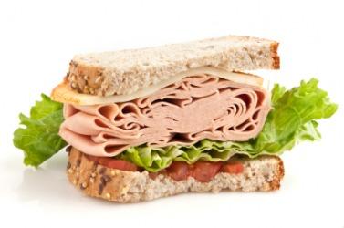 A portion of a sandwich.