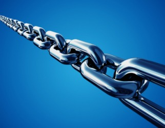 Links in a chain.