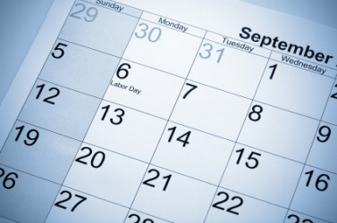 A calendar showing Labor Day.